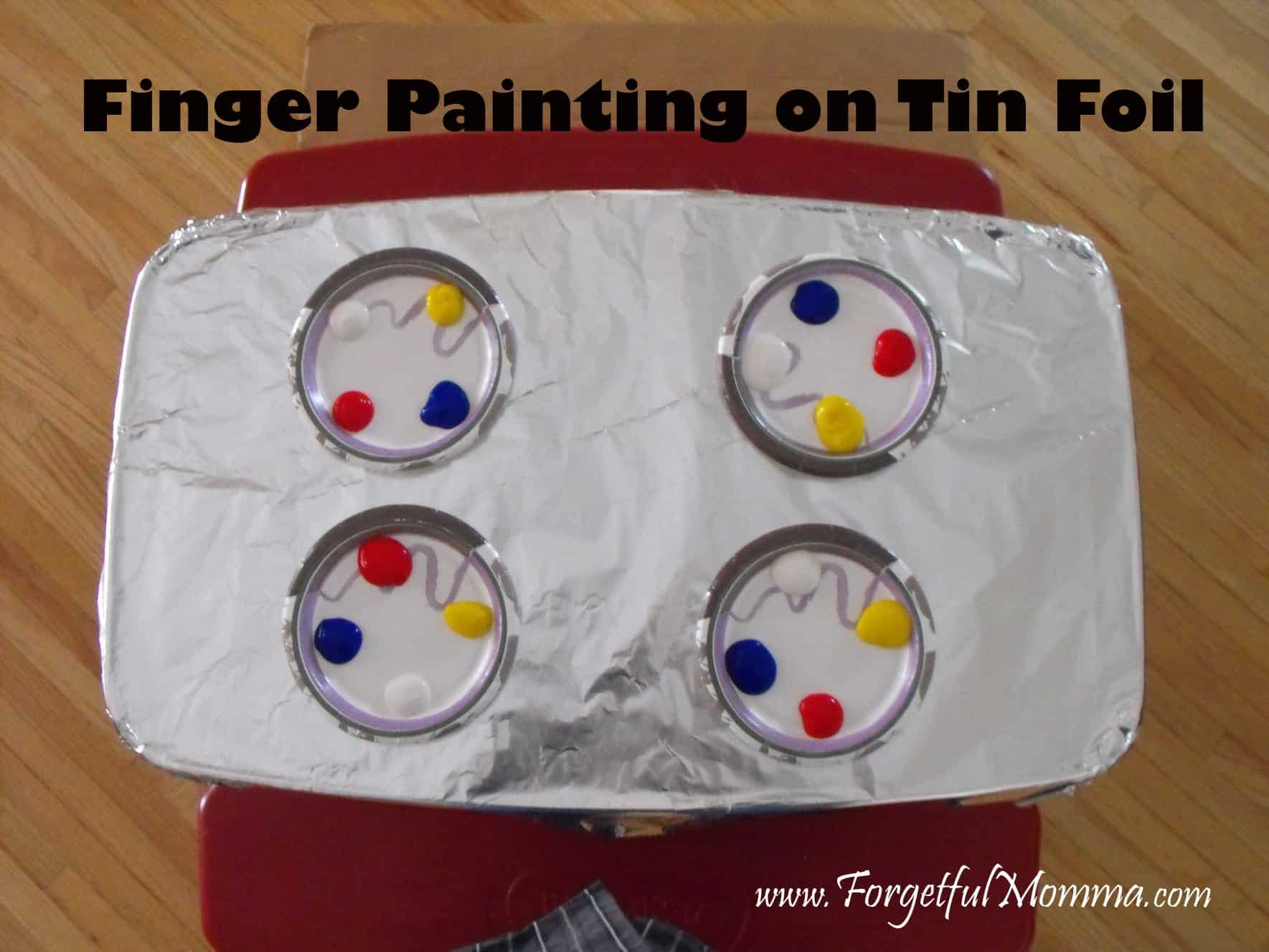 Finger Painting on Tin Foil