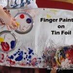 finger painting on tin foil