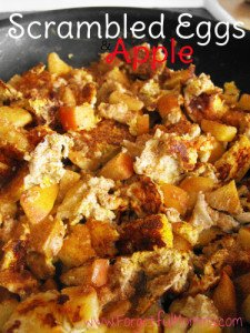 Scrambled Eggs and Apple