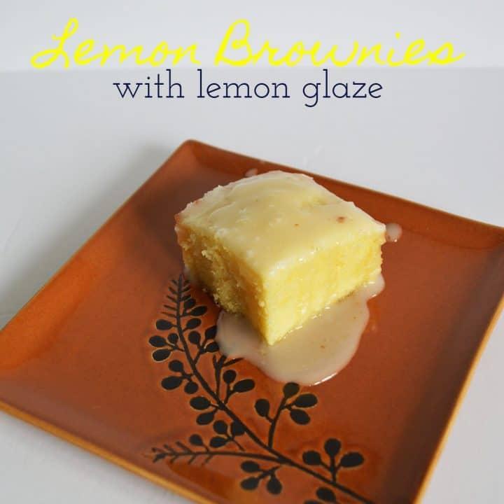Lemon Brownies with Lemon Glaze