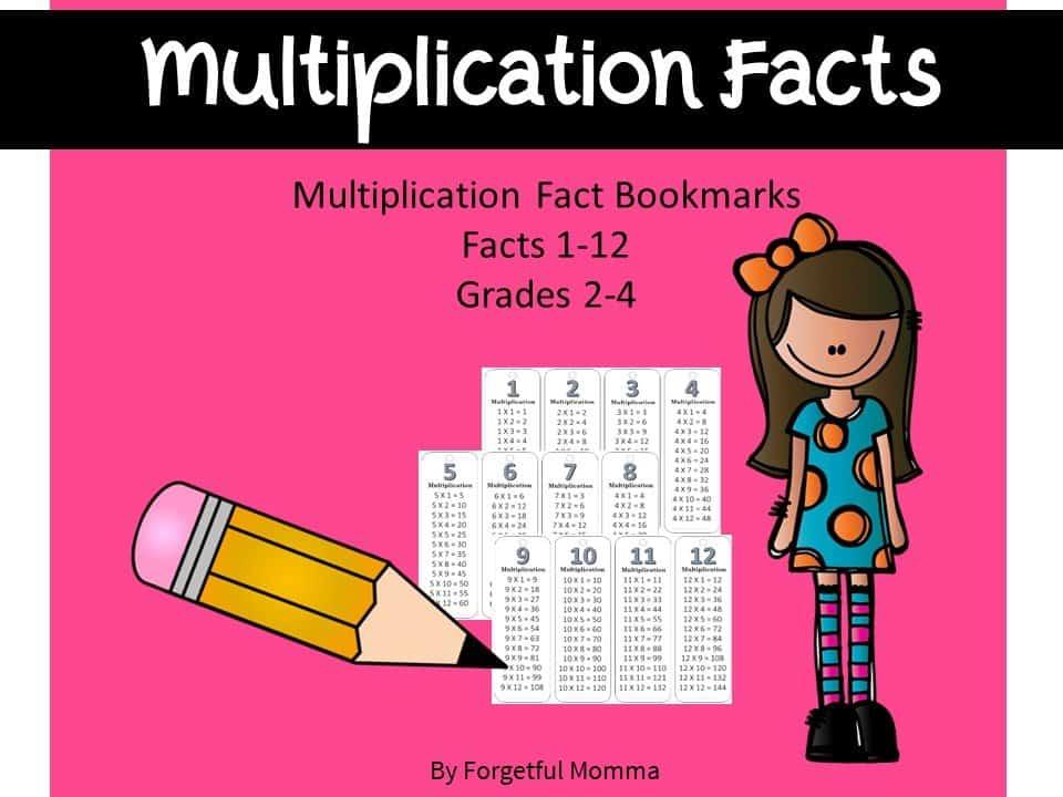Multiplication Bookmark style Flashcards