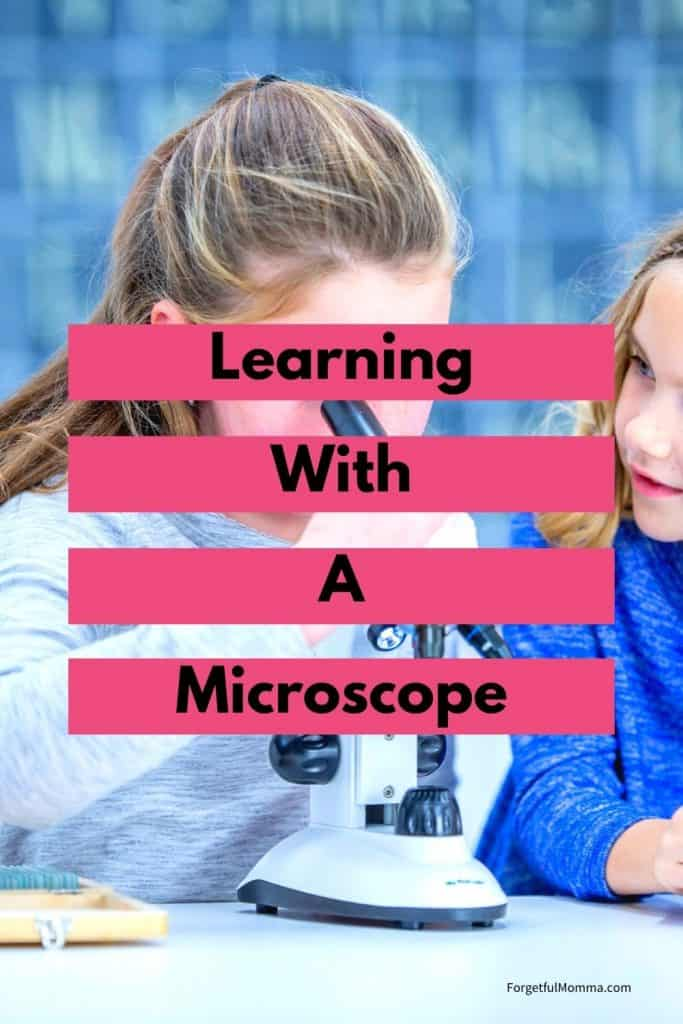 Learning with A Microscope - child looking into a microscope with text overlay
