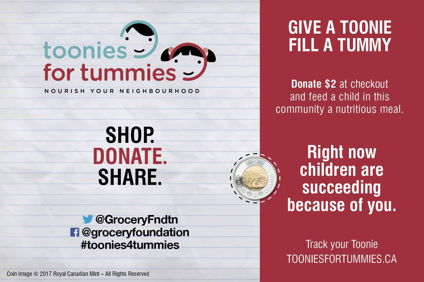 The Grocery Foundation Toonies for Tummies #toonies4tummies