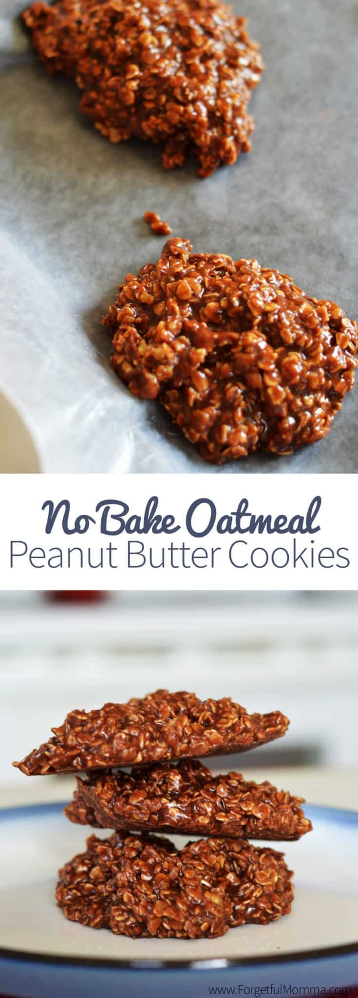No Bake Oatmeal Peanut Butter Cookies