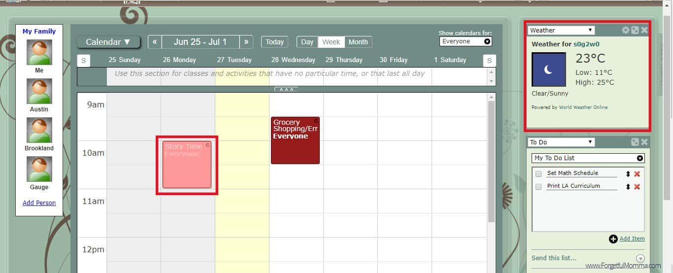 Homeschool Planner main screen