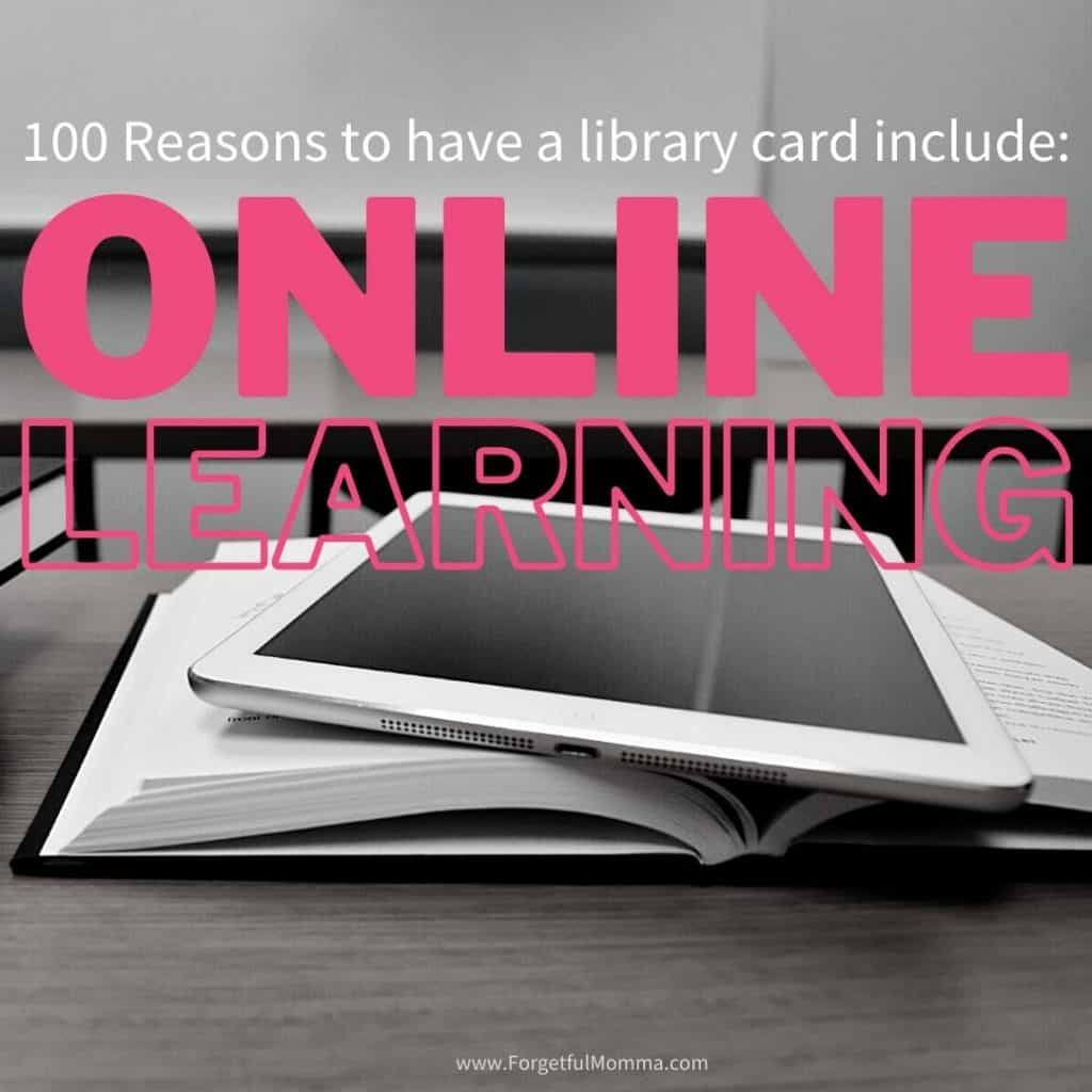 Online learning programs. 100 reasons to have a library card