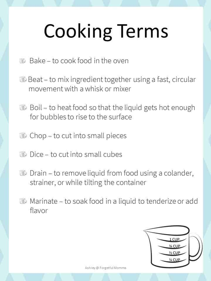 Kids in the Kitchen - Measuring and Cooking Terms