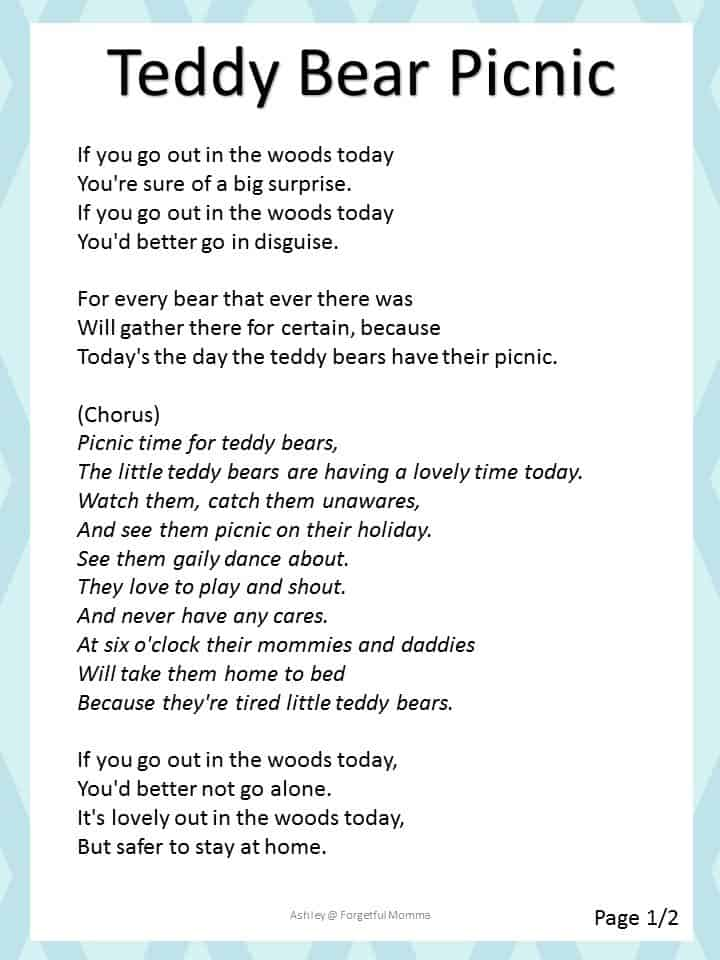 Kids in my Kitchen: teddy bear picnic Song
