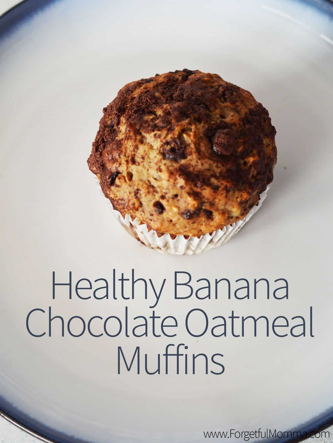 Healthy Banana Chocolate Oatmeal Muffins