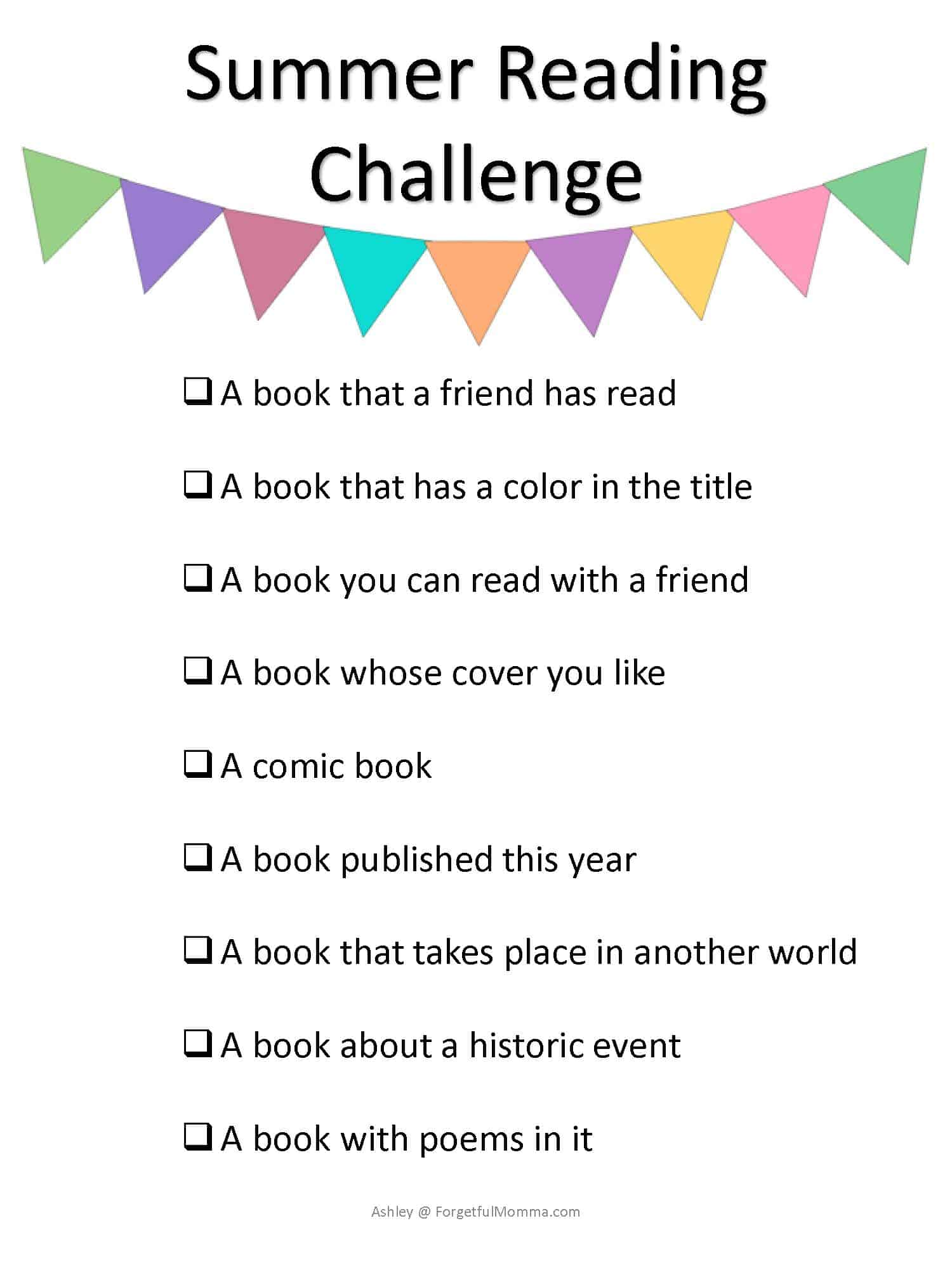 Summer Reading Challenge books