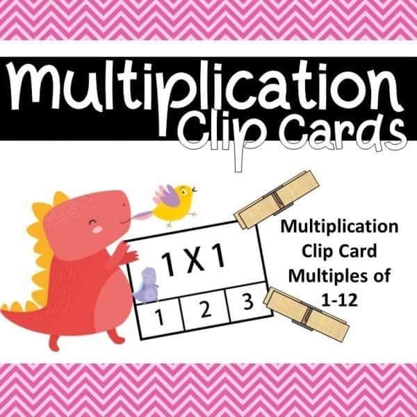 Dino multiplication clip cards