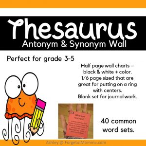 Thesaurus Word Charts - Synonym and Antonyms Words