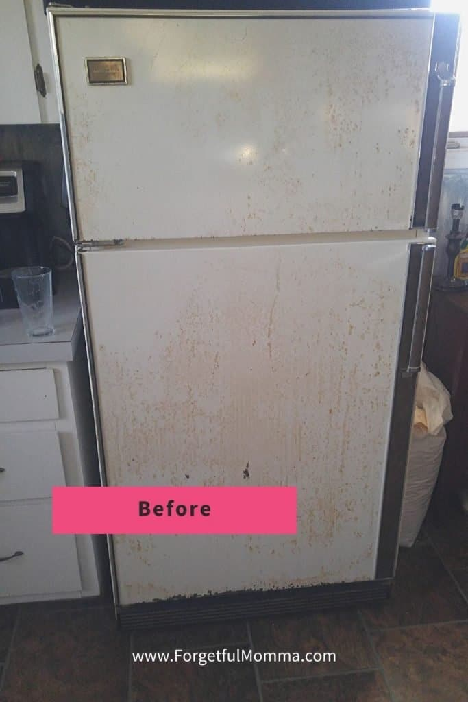 Updating a Fridge on A Budget - Painting Our Fridge before