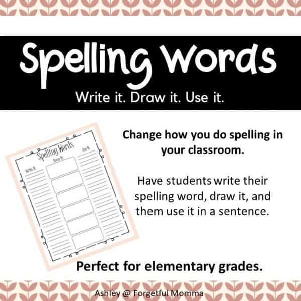 Spelling Words - write it draw it use it cover