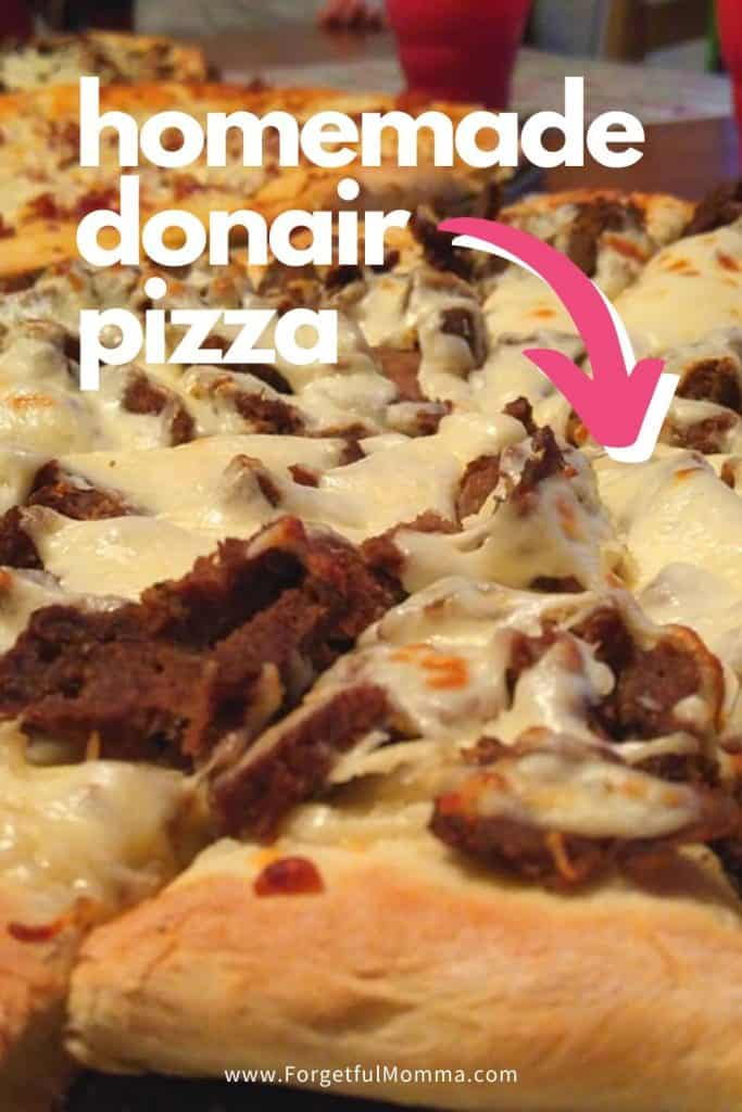 homemade donair pizza
