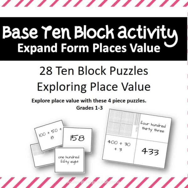 Place Values Base Ten Block Activity Expand Form Places Value