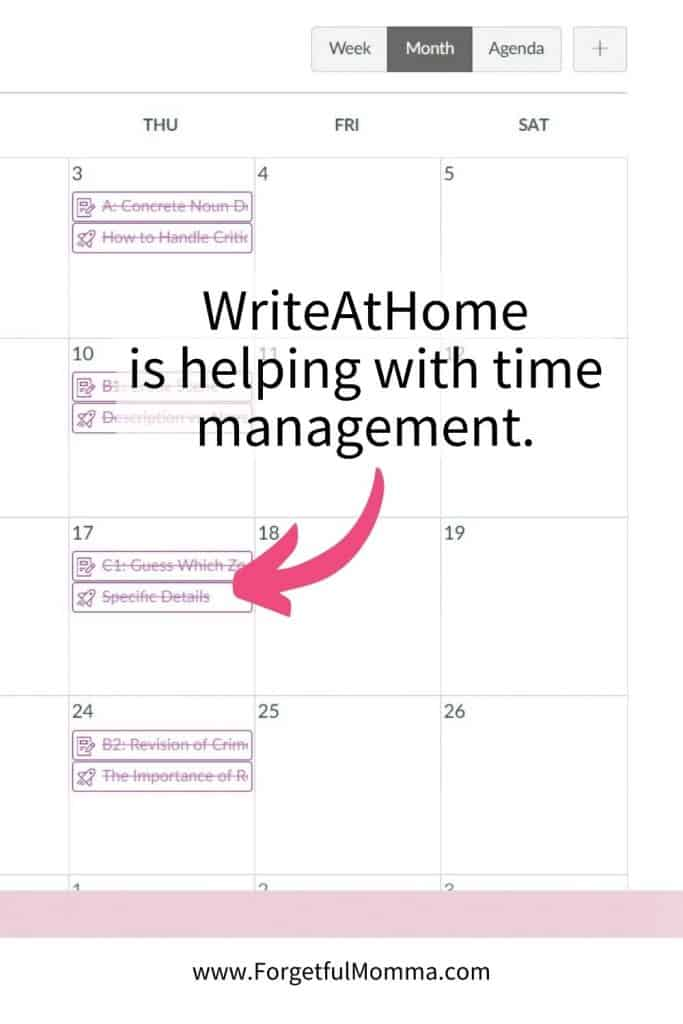 WriteAtHome is helping with time management.