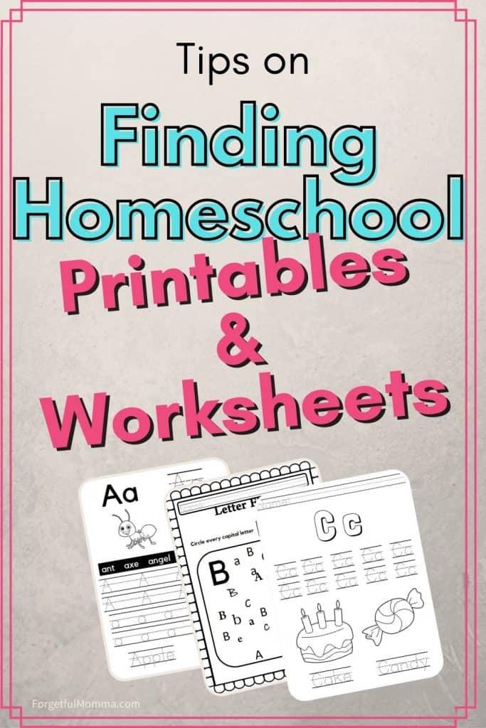 Finding Homeschool Printables & Worksheets