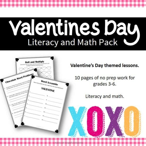 Valentine's Day no prep packet gr 3-6 cover
