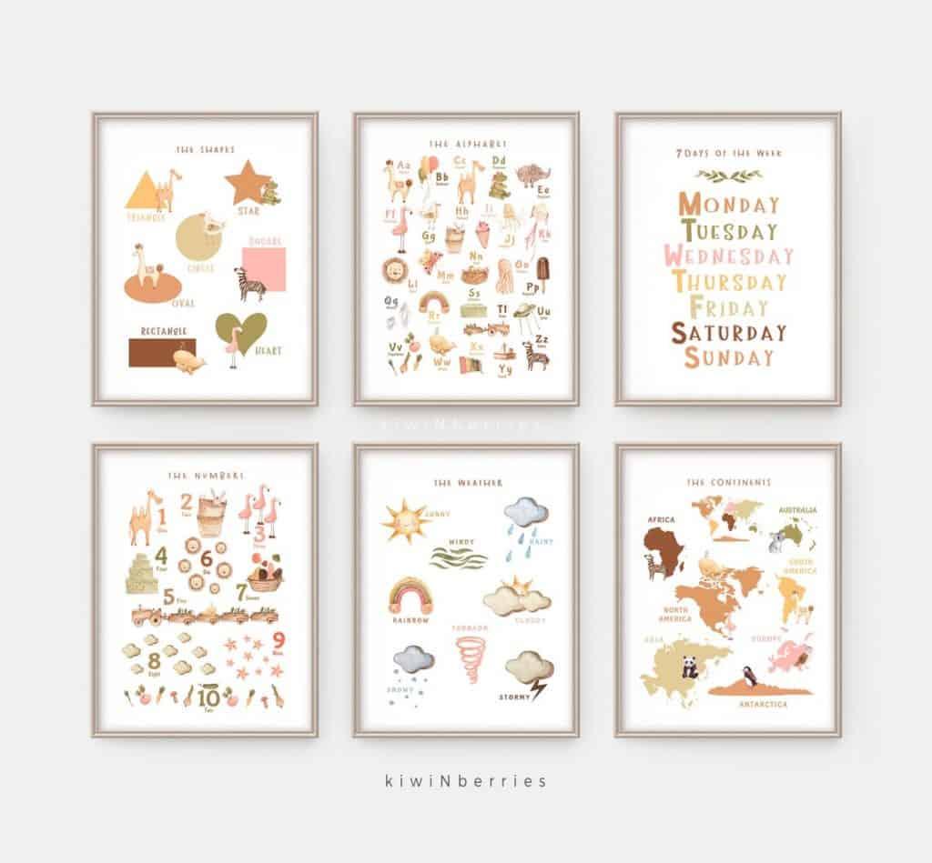 Homeschool printables, Educational Prints, Playroom, Home School, PreSchool Montessori, Neutral bohemian Earthy art print, continents shapes