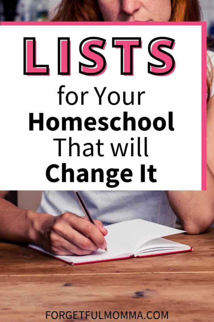 5 Lists for Your Homeschool That will Change It