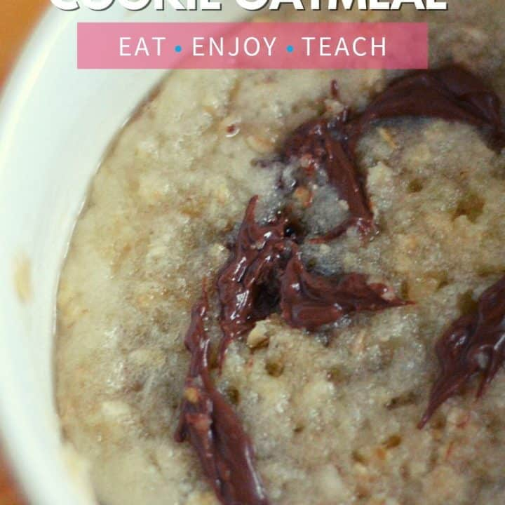 Single Serve Cookie Oatmeal - oatmeal ina a bowl with text overlay