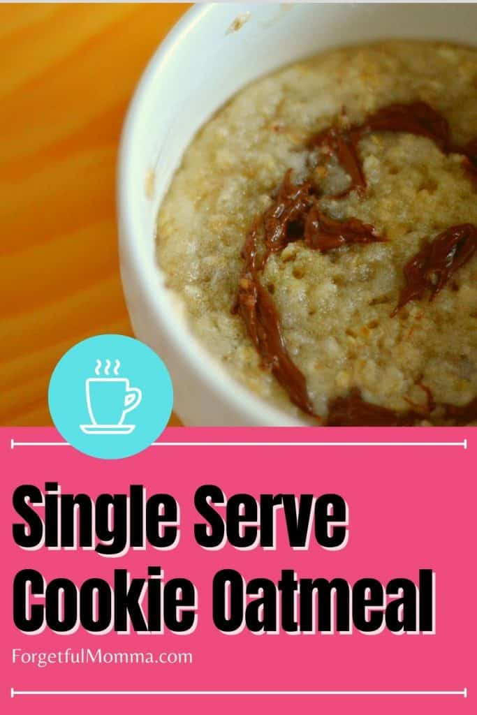 Single Serve Cookie Oatmeal - oatmeal in a white bowl with text overlay